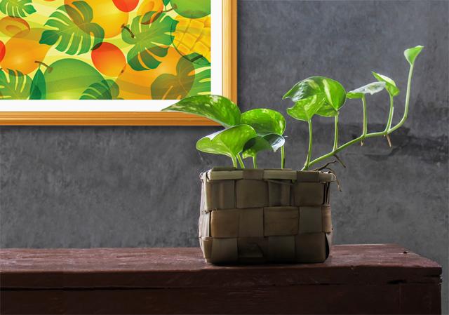 お洒落な風水画と観葉植物の風水インテリアイメージ