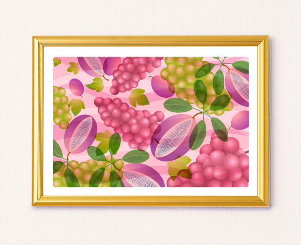 風水果実アートアケビ&ブドウ