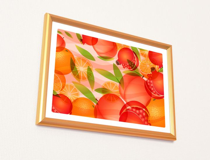 風水果実アート三柑の実を飾ったイメージ