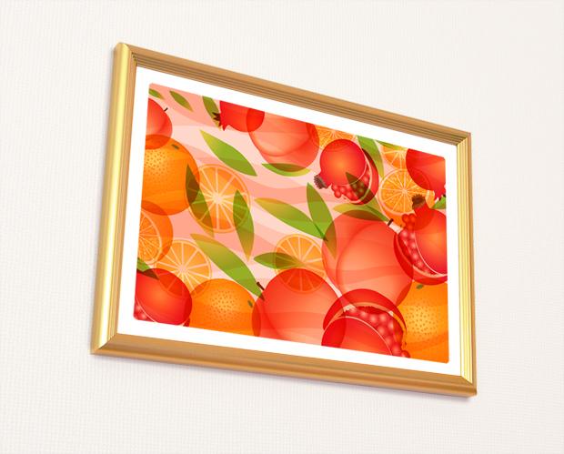 風水果実アート 三柑の実 橙(だいだい)