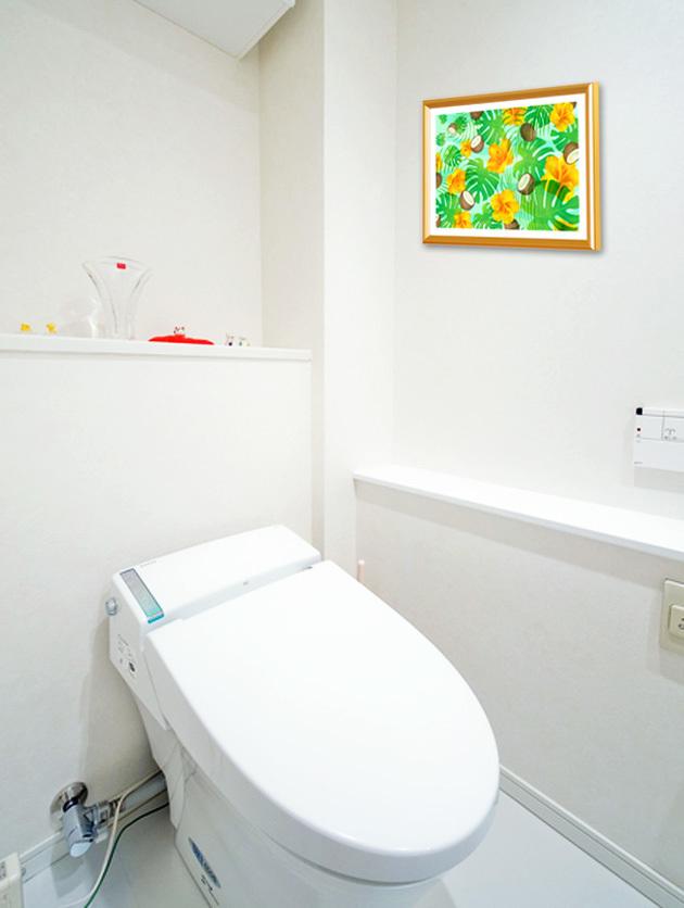 風水果実アートモンステラ&ハイビスカスをトイレに飾ったイメージ