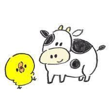 牛とひよこ