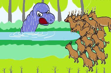 シカと池の怪物