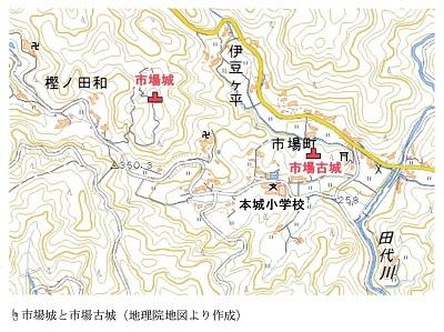 市場城跡位置図(当日見学会資料より引用)