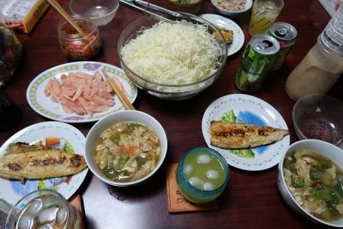サバの西京漬け、さば缶とキャベツの外葉揚げ湯葉、油揚げの味噌汁、岩下の新生姜