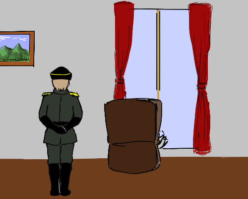 ルチア大佐 立つ  後ろ姿  首相 部屋