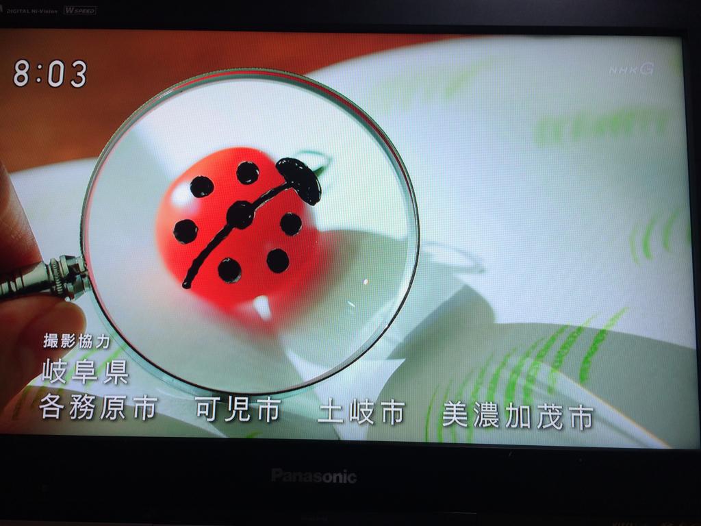 「プチトマトがテントウムシ」