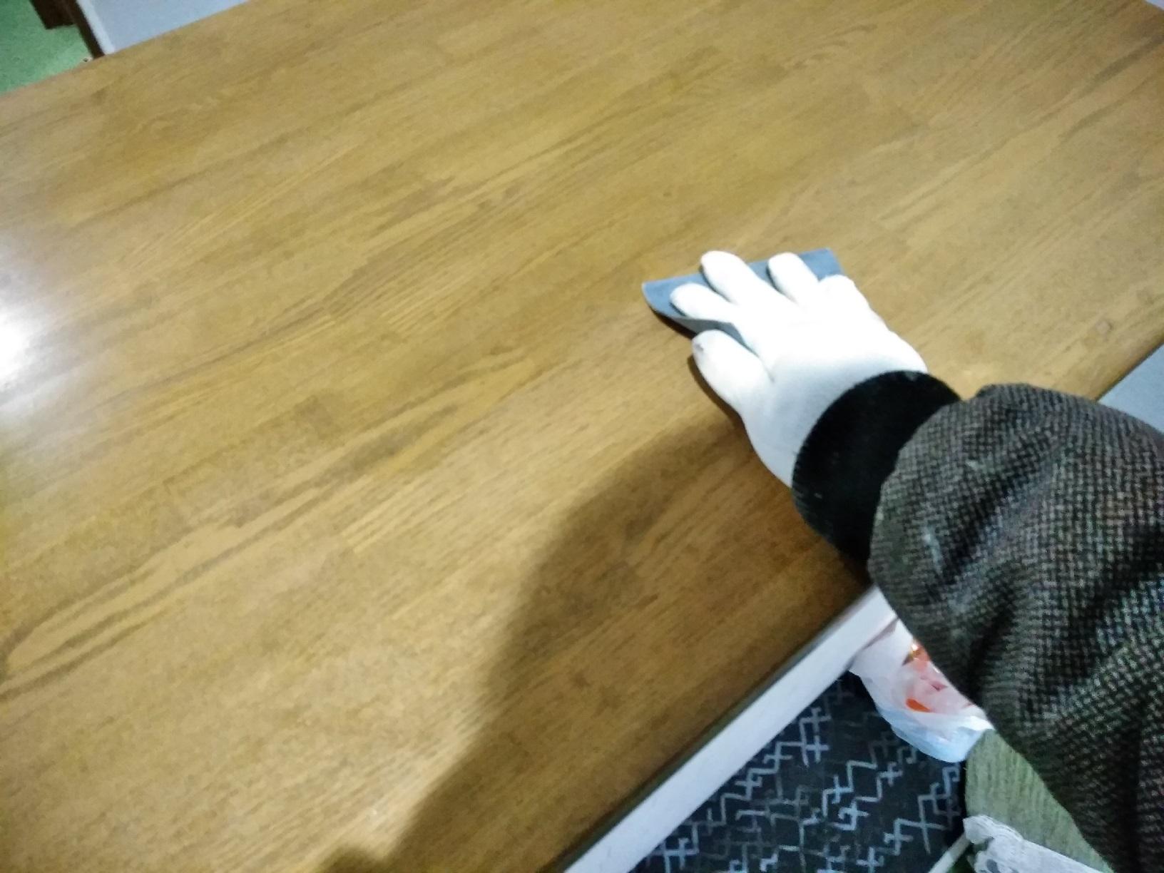 昭和店舗 カウンター天板塗装6