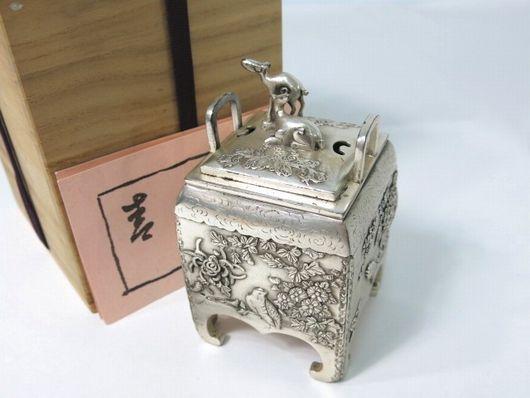 青鳳作 銀製 角型花鳥 香炉 銀900 共箱