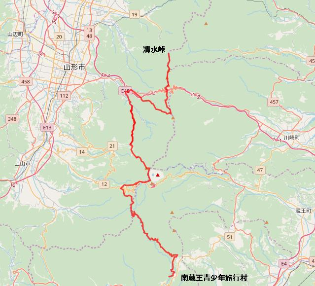 YLTルート全体図(七ヶ宿町⇔清水峠)