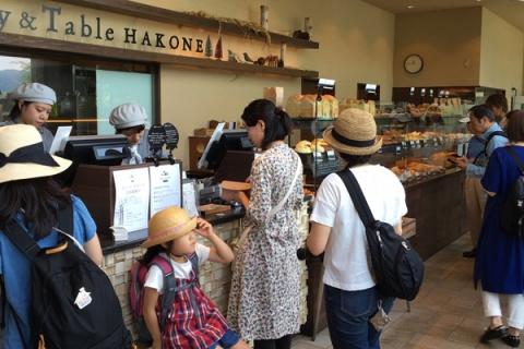 1階でパンを注文する人たち