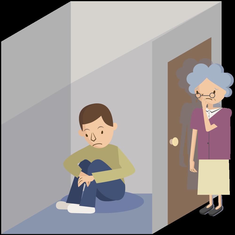 引きこもりの息子を心配する母親8050問題のイラスト