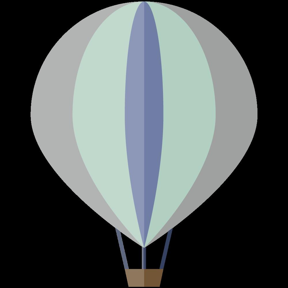 シンプルでかわいい青い気球のイラスト