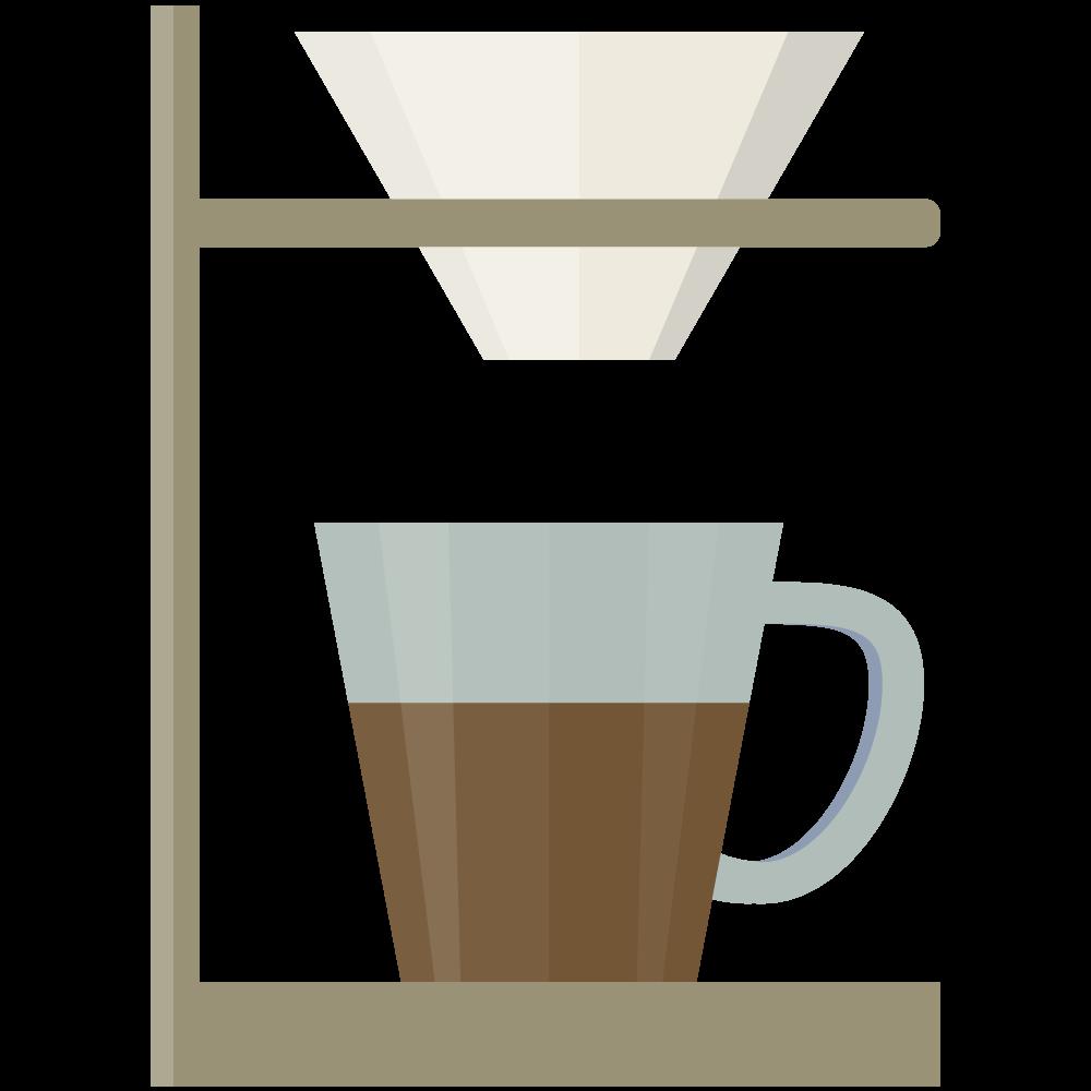 シンプルでかわいいコーヒードリッパースタンドのイラスト