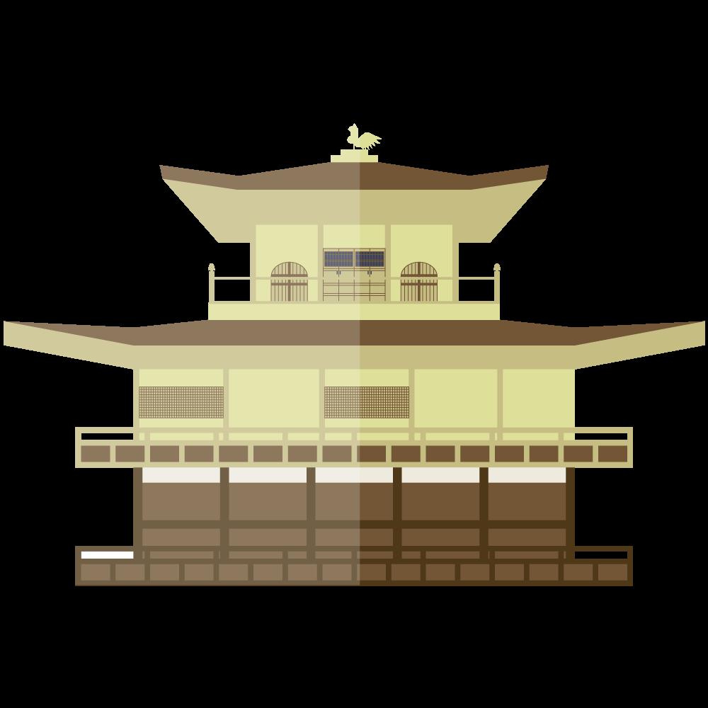 シンプルでフラットな金閣寺のイラスト