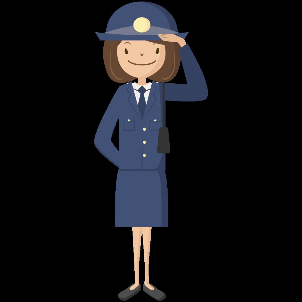 敬礼する婦人警官のイラスト