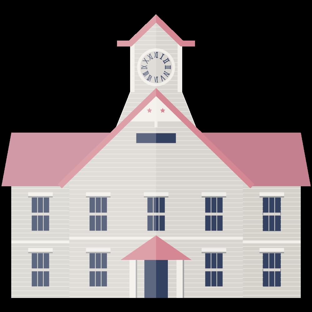 シンプルでフラットな札幌市時計台のイラスト