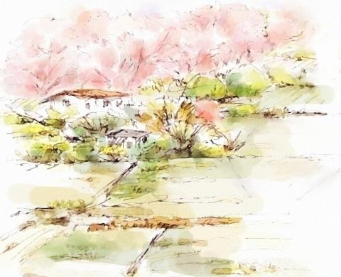 田園と桜1