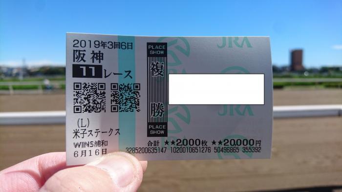 2019年6月16日(日)阪神11R 米子ステークスの馬券