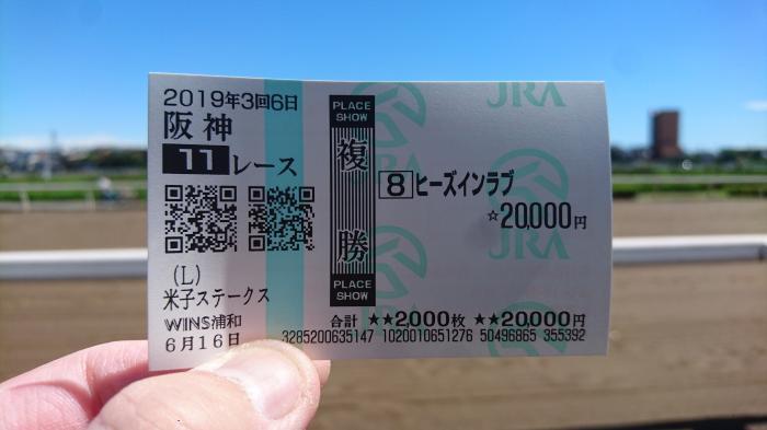2019年6月16日(日)阪神11R 米子ステークスの馬券2