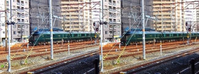 JR新大阪駅 トワイライトエクスプレス瑞風2019.3.16(交差法)
