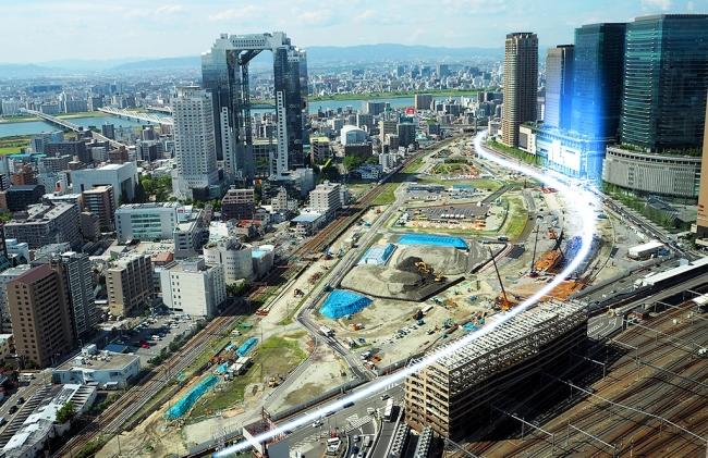 うめきた2期地区現在と北梅田駅(仮称)位置
