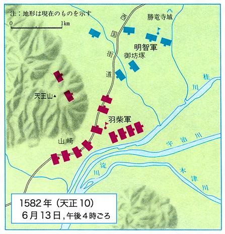 山崎の戦いの両軍布陣図