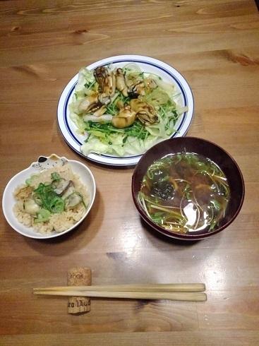 ss牡蠣ご飯+牡蠣味噌汁+牡蠣のお焼き