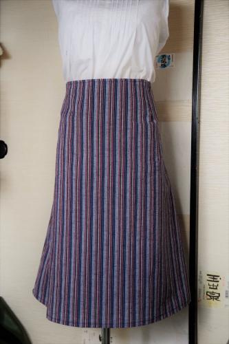 久留米織 鰹縞 Aラインのスカート 月居良子 ソーイングの基礎