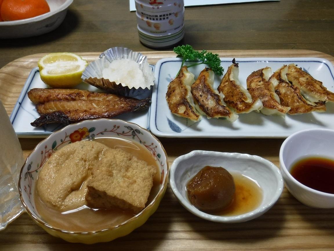 ブログ 夕食 焼き魚 餃子の平凡なご飯.jpg