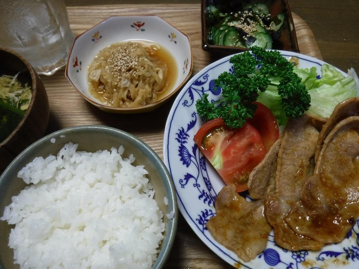 ブログ 夕食 豚肉味噌炒め  干し大根、キュウリの酢和え.jpg