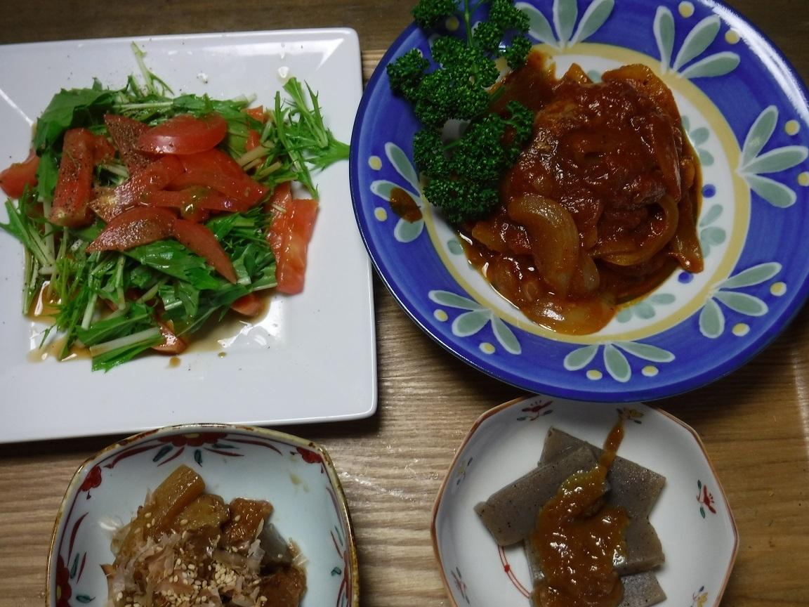 ブログ 夕食 煮込みハンバーグとサーモンのカルパッチョ.jpg