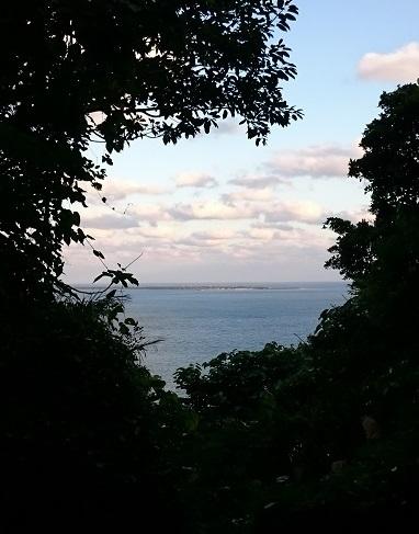 正面に久高島が