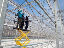 【写真】大規模トマトハウスの高架台の上で説明を受ける農園主
