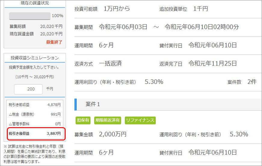 ポケットファンディング、利息3ヶ月天引き沖縄北部ファンド4号分配額