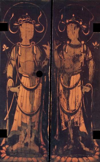 5宮殿部向かって左面扉絵 二菩薩
