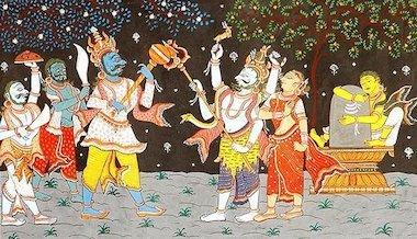 7死の神カーラを退治するシヴァ