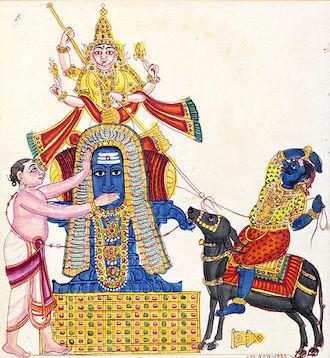 8死の神カーラを退治するシヴァ