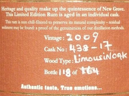 NEW GROVE Single Cask Rum 2009 For JIS_ura450