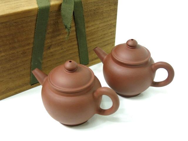 三浦竹泉造 倣古朱泥 茶銚 急須 一双 煎茶道具