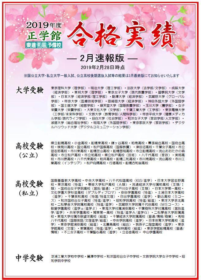 合格速報2019(2月)
