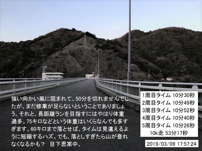 2019年3月9日、ダム周遊路駆け足