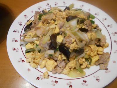 310303ネギ、豚肉、卵、木耳の炒め物
