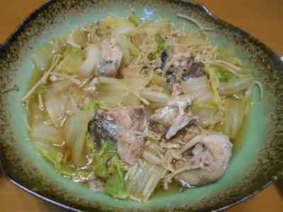 310303白菜と鯖の水煮缶の煮付け