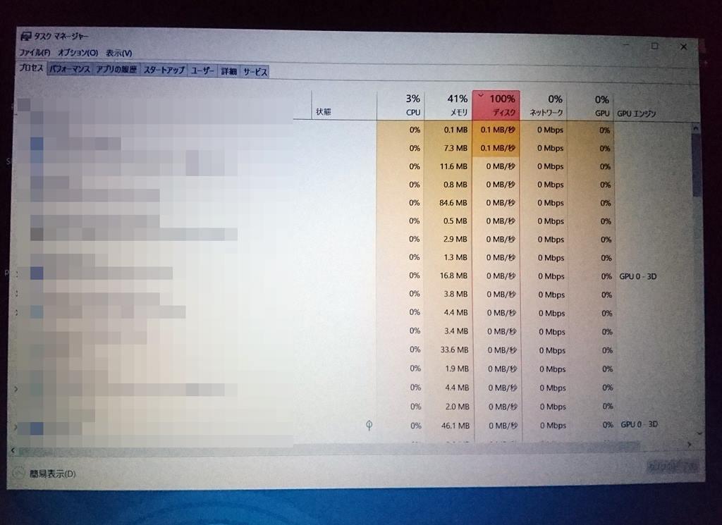 Windows10のディスク使用率100%現象が直った