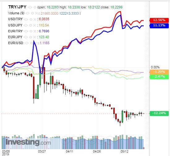 トルコリラ円 TRY/JPY(日足) 2019年5月22日