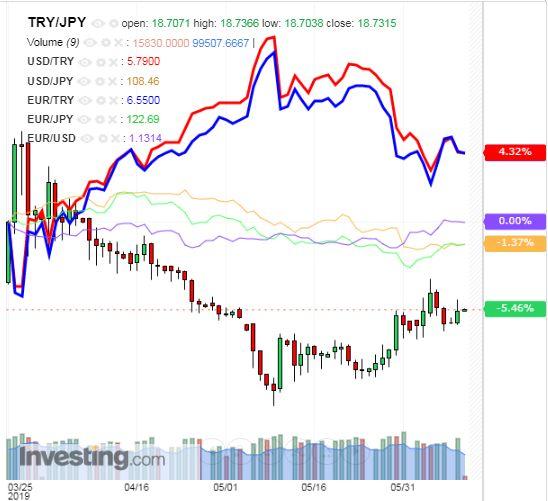 トルコリラ円 TRY/JPY(日足) 2019年6月11日
