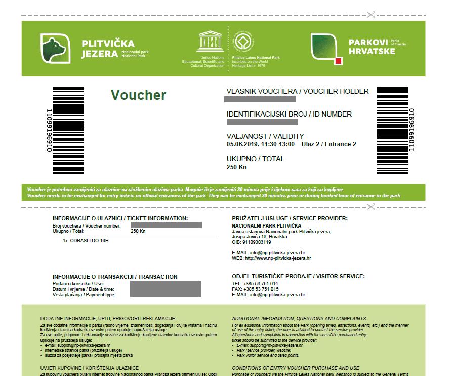 プリトヴィッツェ湖群国立公園_チケット2