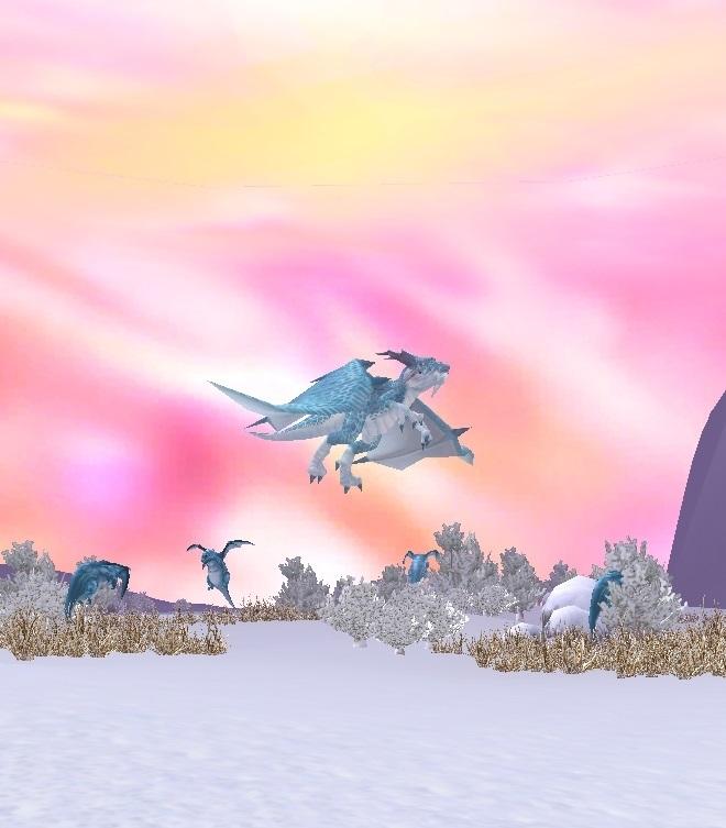 GFブログ(W10)用309A16 GFの風景・雪原の荒野 ドラゴン達