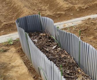ホワイトアスパラ栽培場所の波板囲い